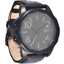 Shark by Freestyle the Step Watch, Black IP with Leather Strap