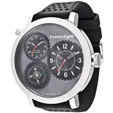 Freestyle Passage Watch, Silver with Black Polyurethane Strap