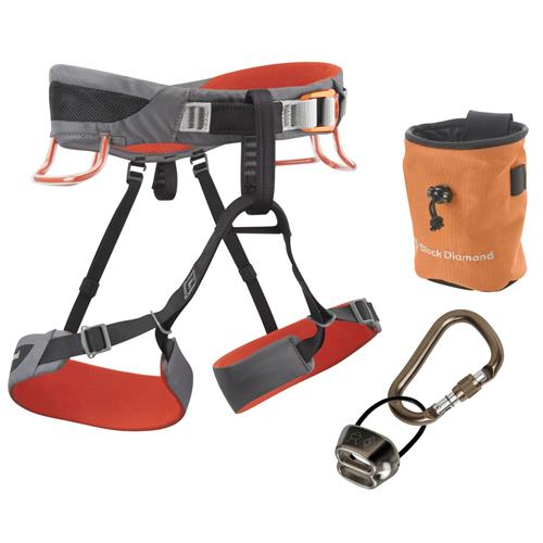 Black Diamond Momentum SA Climbing Harness Package X-Large Steel/Lava