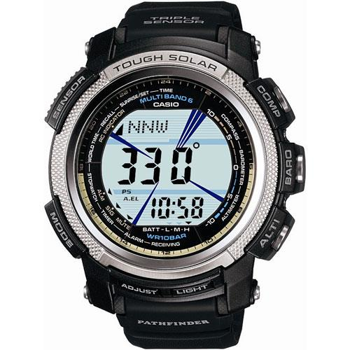 Casio 6 Atomic Solar Pathfinder Watch with Resin Band