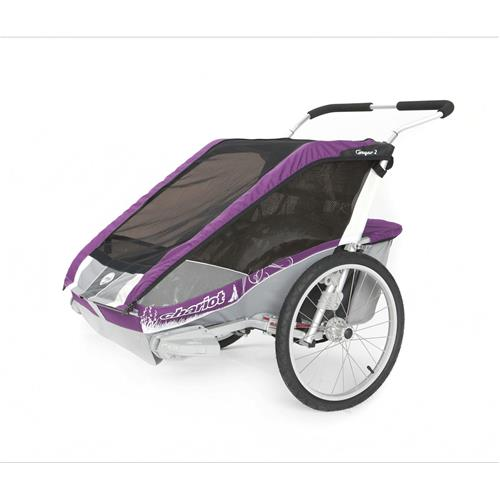 Chariot Carriers Cougar 2 Double Stroller - Chassis Only Purple/Silver/Grey