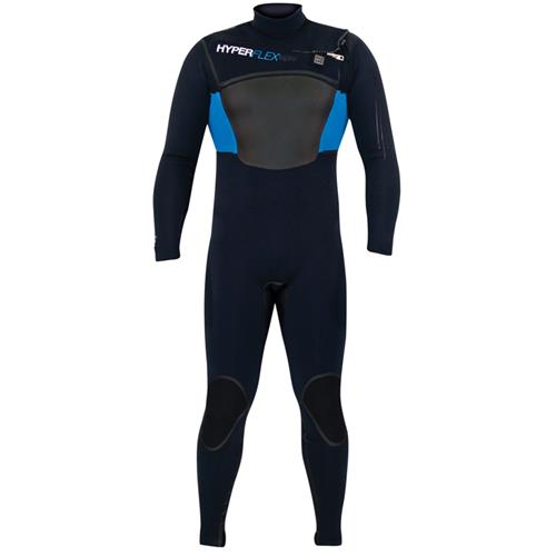 Hyperflex AMP3 Wind Series 4/3mm men's Front Zip Fullsuit, Black/Blue