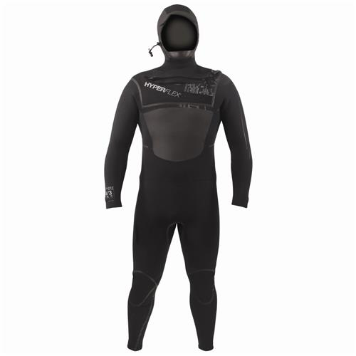 Hyperflex AMP 3 Series 6/5/4 mm Front Zipper Hooded Full Suit Surf Wetsuit, Black