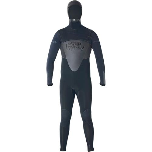 Hyperflex Flow Series 6/5/4 mm Mens Hooded Full Suit, Black