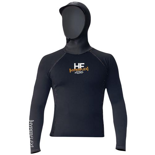 Hyperflex Polyolefin Long Sleeve Hooded Rash Guard, Black Small