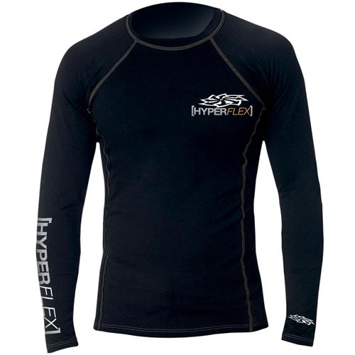 Hyperflex Polyolefin Long Sleeve Rash Guard, Black