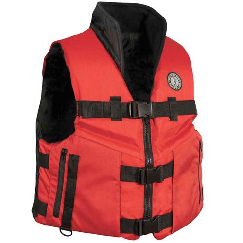 Mustang Survival Accel100 Fishing Vest, Red/Bla