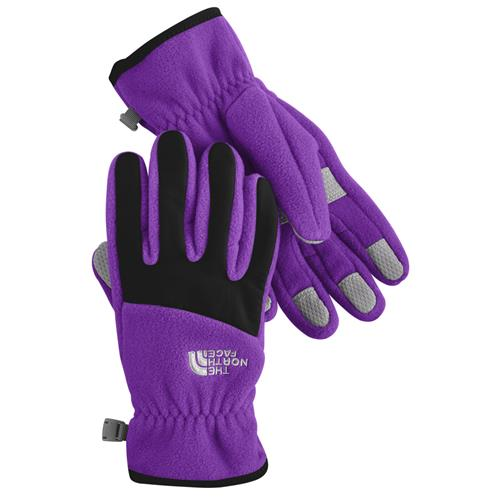The North Face Denali Gloves for Girls Medium Pixie Purple/TNF Black