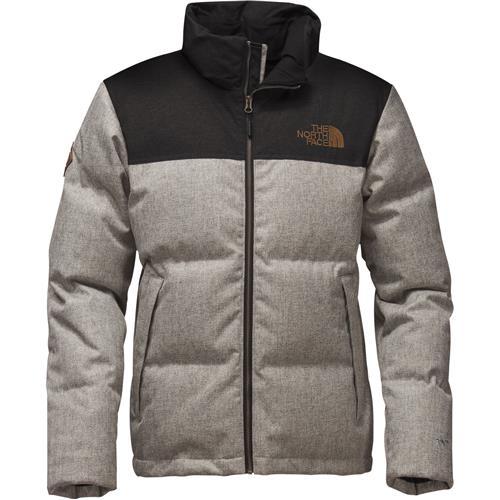The North Face Novelty Nuptse Jacket for Men Large Monument Grey HerringboneTNF Black