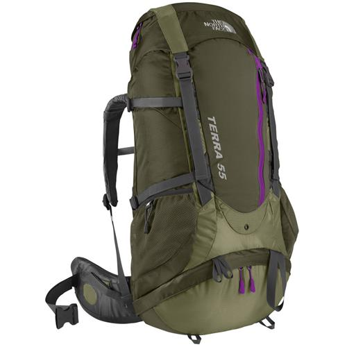 The North Face Terra 55 Backpack for Women Grecian Green/Fig Green