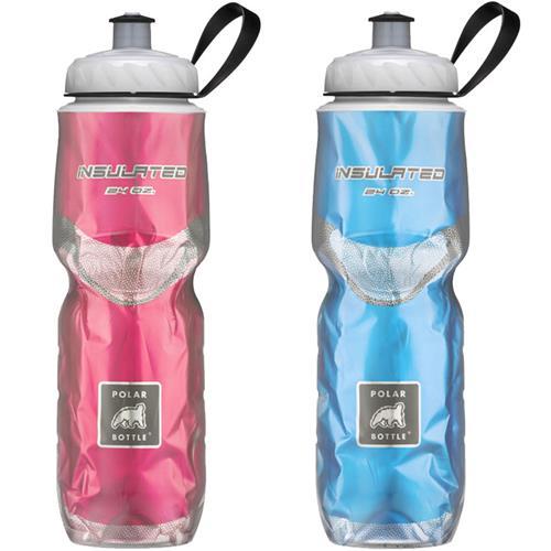 2-Pack Polar Insulated CHEVRON RED 24oz Water Bottles Bike//Hike Dishwasher Safe