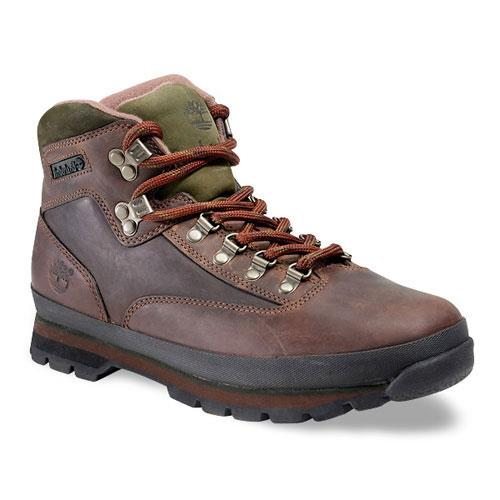 Timberland Heritage Euro Hiker Leather Mid Hiking Shoes for Men - Brown Smooth 10W