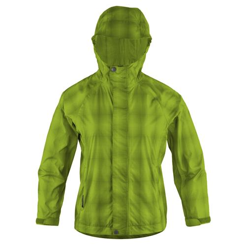 White Sierra Plaid Trabagon Jacket for Women Medium Bright Lime Plaid
